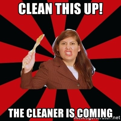 Angry Mom - Clean this up! the cleaner is coming