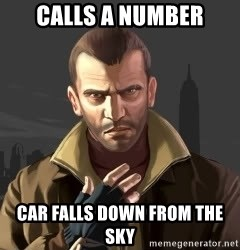 GTA - Calls a number Car falls down from the sky