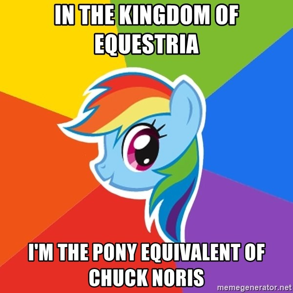 Rainbow Dash - In the kingdom of Equestria  I'm The pony equivalent of Chuck Noris