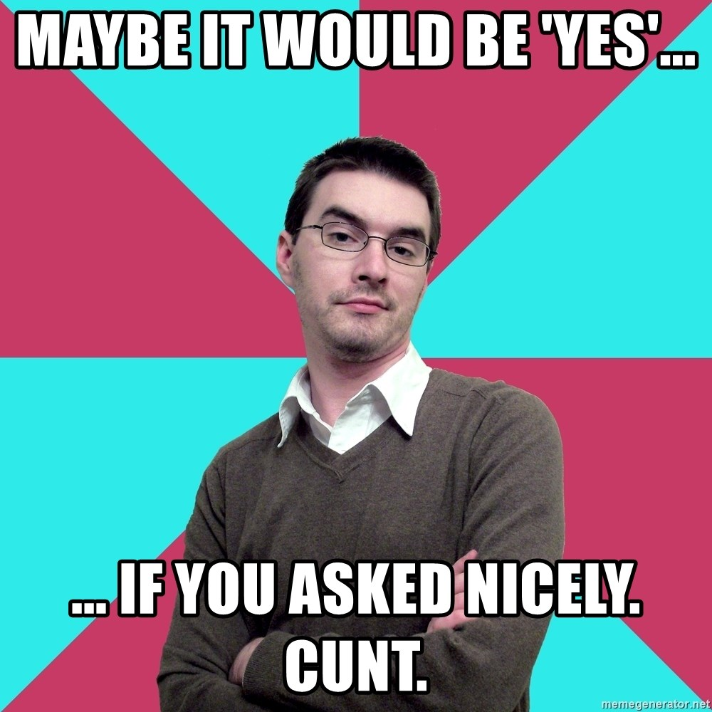 Privilege Denying Dude - Maybe it would be 'yes'... ... If you asked nicely. Cunt.