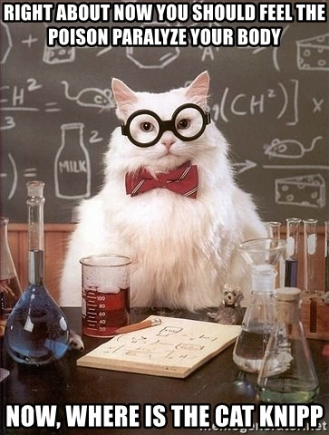 Chemistry Cat - right about now you should feel the poison paralyze your body now, where is the cat knipp