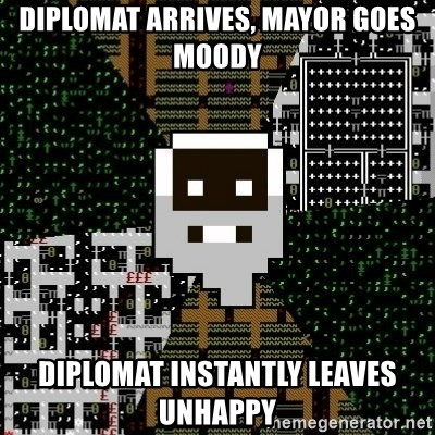 Urist McDorfy - Diplomat arrives, mayor goes moody diplomat instantly leaves unhappy