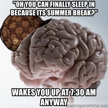 "Scumbag Brain - ""oh you can finally sleep in because its summer break?"" Wakes you up at 7:30 am anyway"