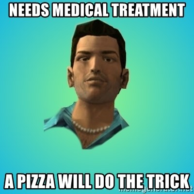 Terrible Tommy - needs medical treatment a pizza will do the trick