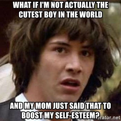 Conspiracy Keanu - what if i'm not actually the cutest boy in the world and my mom just said that to boost my self-esteem?