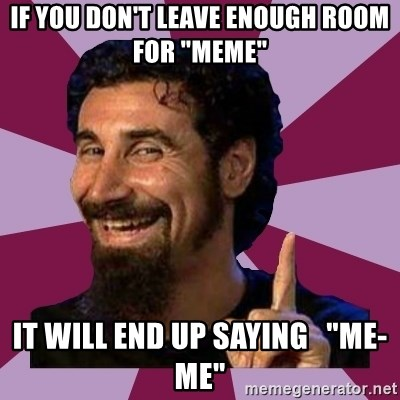 """Serj Tankian - if you don't leave enough room for """"meme"""" it will end up saying   """"me-me"""""""