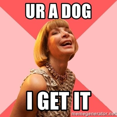 Amused Anna Wintour - UR A DOG I GET IT