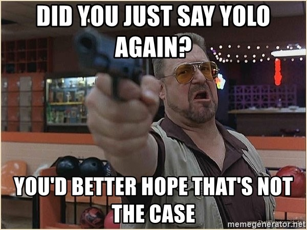 WalterGun - Did you just say yolo again?  you'd better hope that's not the case
