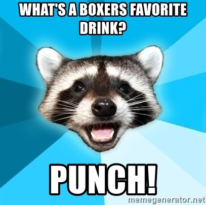 Lame Pun Coon - What's a boxers favorite drink? punch!