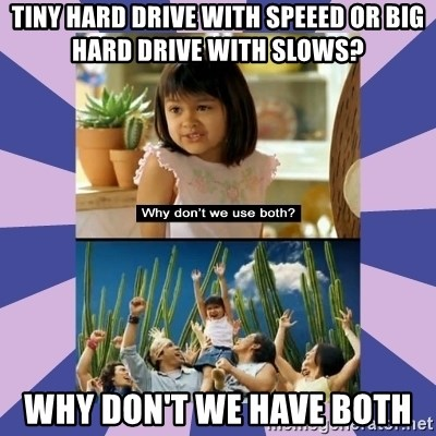 Why don't we use both girl - Tiny Hard Drive with Speeed or Big Hard Drive with Slows? Why don't we have both
