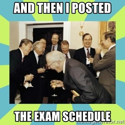 reagan white house laughing - and then i posted the exam schedule