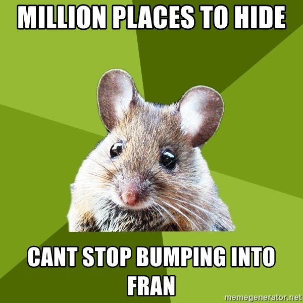 Prospective Museum Professional Mouse - million places to hide cant stop bumping into fran