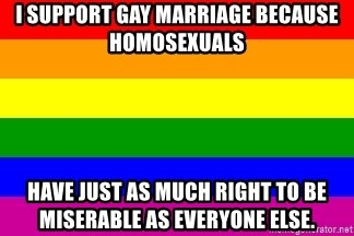 You're Probably Gay - I support gay marriage because homosexuals have just as much right to be miserable as everyone else.