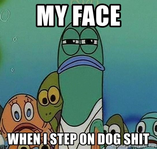 Serious Fish Spongebob - my face when i step on dog shit