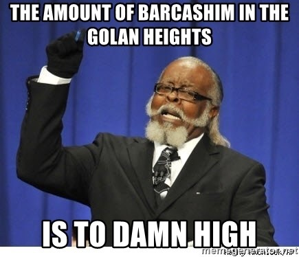 The tolerance is to damn high! - The amount of barcashim in the golan Heights is to damn high