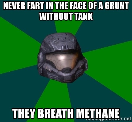 Halo Reach - never fart in the face of a grunt without tank they breath methane