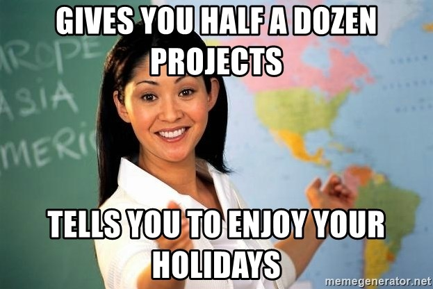 Unhelpful High School Teacher - gives you half a dozen projects tells you to enjoy your holidays