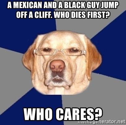Racist Dog - A mexican and a black guy jump off a cliff. who dies first? who cares?