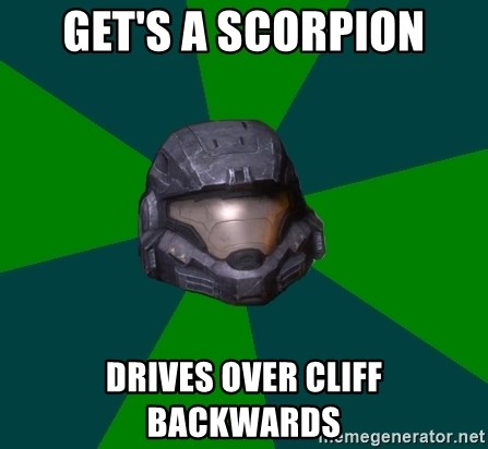 Halo Reach - Get's a scorpion drives over cliff backwards
