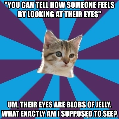 "Autistic Kitten - ""you can tell how someone feels by looking at their eyes"" um, their eyes are blobs of jelly. what exactly am i supposed to see?"