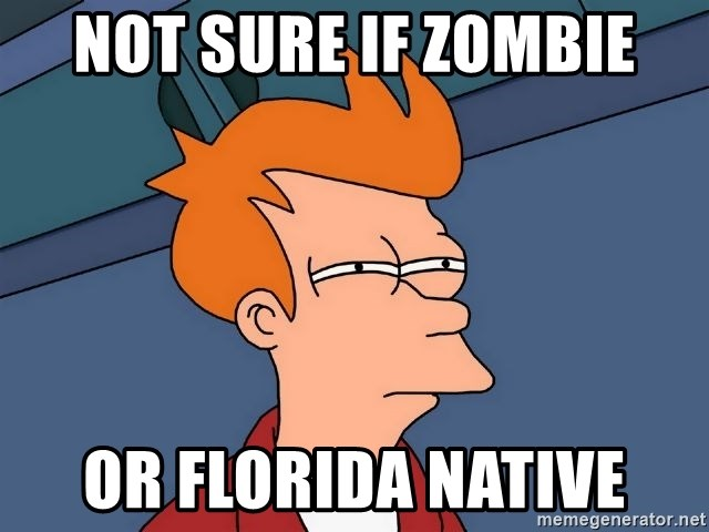 Futurama Fry - not sure if zombie or florida native