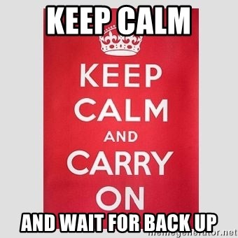 Keep Calm - Keep calm  AND WAIT FOR BACK UP