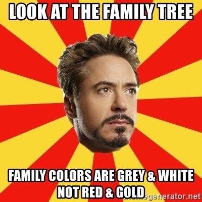 Leave it to Iron Man - look at the family tree  family colors are grey & white not red & gold