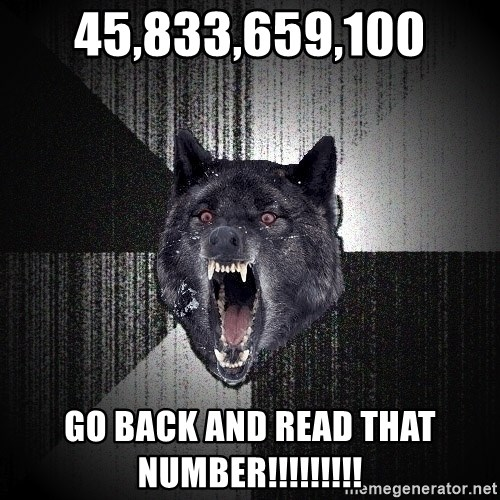 Insanity Wolf - 45,833,659,100 GO BACK AND READ THAT NUMBER!!!!!!!!!