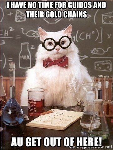 Chemist cat - i have no time for guidos and their gold chains au get out of here!