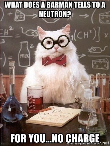 Chemistry Cat - What does a barman tells to a neutron? For you...no charge