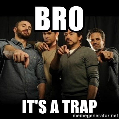 avengers pointing - Bro it's a trap