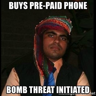 Scumbag Muslim - buys pre-paid phone bomb threat INITIATED