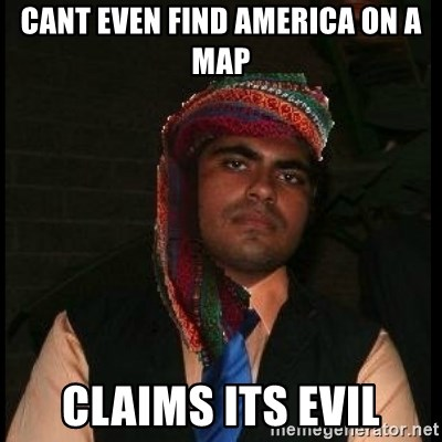Scumbag Muslim - cant even find america on a map claims its evil