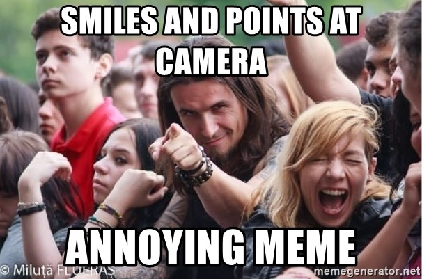 Ridiculously Photogenic Metalhead Guy - smiles and points at camera annoying meme