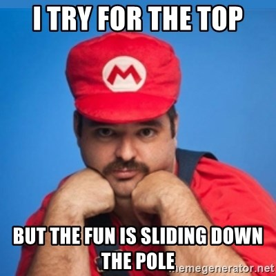SUPERSEXYMARIO - I try for the top But the fun is sliding down the pole