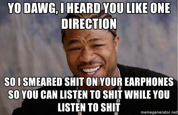 Yo Dawg - yo dawg, i heard you like one direction so i smeared shit on your earphones so you can listen to shit while you listen to shit