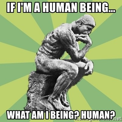 Overly-Literal Thinker - If I'm a human being... what am i being? Human?