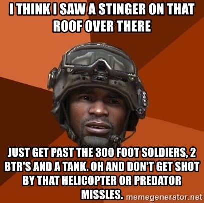Sgt. Foley - i think i saw a stinger on that roof over there just get past the 300 foot soldiers, 2 btr's and a tank. oh and don't get shot by that helicopter or predator missles.