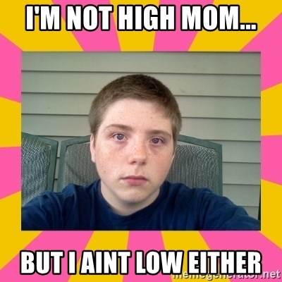 Underage Stoner Kid - I'm not high mom... But I aint low either