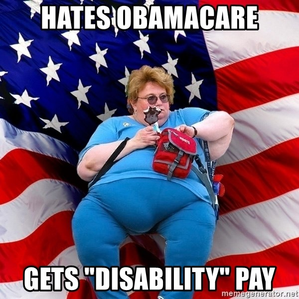 """Obese American - hates obamacare gets """"disability"""" Pay"""