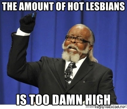 Too high - the amount of hot lesbians is too damn high