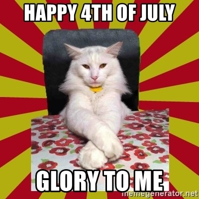 Dictator Cat - happy 4th of july glory to me