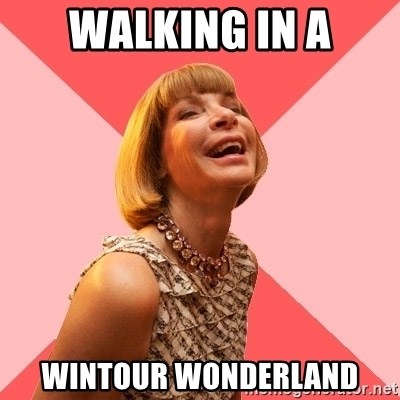 Amused Anna Wintour - walking in a wintour wonderland
