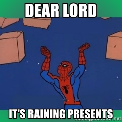 60's spiderman - DEAR LORD IT'S RAINING PRESENTS