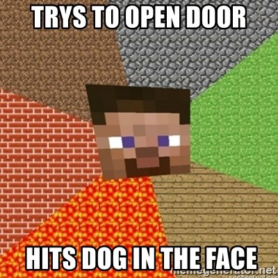 Minecraft Steve - Trys to open door  hits dog in the face