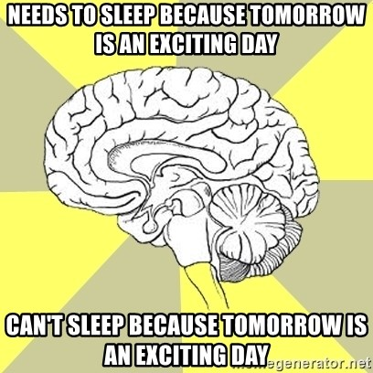 Traitor Brain - Needs to sleep because tomorrow is an exciting day Can't sleep because tomorrow is an exciting day