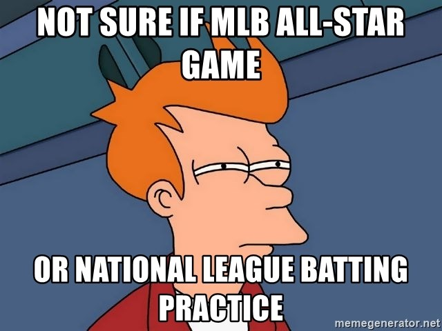 Futurama Fry - Not sure if MLB all-star game Or national league batting practice