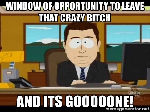 Aand Its Gone - Window of opportunity to leave that crazy bitch AND its GOOOOONE!