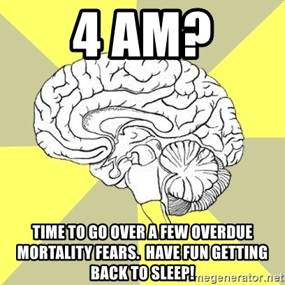 Traitor Brain - 4 AM? time to go over a few overdue mortality fears.  Have fun getting back to sleep!