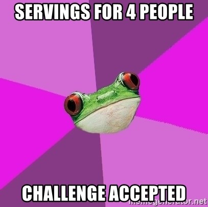 Foul Bachelorette Frog - servings for 4 people challenge accepted